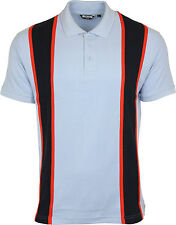 Relco 60s Style Stripe Pique Polo Shirt Sky Mod Northern Soul 100 Cotton M
