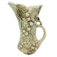McCoy Pottery Vintage Grapes & Leaves Embossed Pitcher Green & Brown EUC
