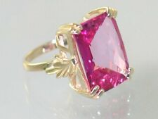 Pure Pink Topaz, 10KY or 14KY Gold Ladies Ring, R039-Handmade