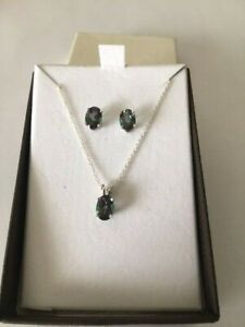 Brand New 14k White Gold Mystic Topaz- Necklace + Matching Earrings-7x5mm Ovals