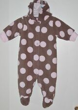 CARTER'S Size 3 Months Brown Pink Footed Long Sleeve Hoody Bodysuit Romper