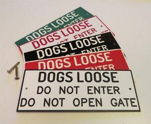 Dogs Loose warning engraved gate sign, garden door Free P&P