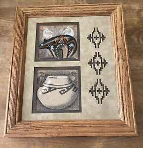 Navajo sand painting Signed Native American Art Framed