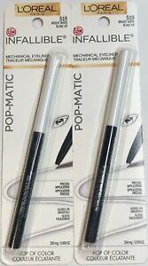 (2) L'Oréal Infalible Pop-Matic Mecánico Delineador de Ojos, 519 Bright Blanco
