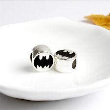 New 2Pcs European Batman Round Charm Crystal Spacer Beads Fit Necklace Bracelet