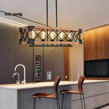 5 Lights Industrial Kitchen Island Light Wood Chandelier Pendant Ceiling Fixture