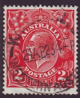 "2d RED KGV SINGLE WMK  VARIETY BW96(12)j ""WHITE FLAW THROUGH TWO"" FU (A8051)"