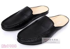 new Mens leather moccasins slippers slip on flats casual mens slides mules shoes
