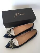 NIB J Crew Navy Sequined Flat Shoes Stars Sz Women's Navy Blue 11 Flats H1903