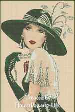 Art Deco Lady with Large Green Hat Counted Cross Stitch COMPLETE KIT- No.1-35a