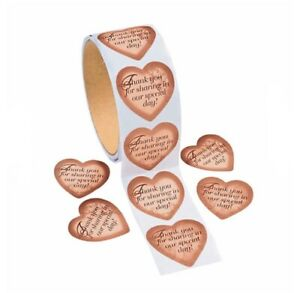 100 Gold Heart Thank You Stickers Roll   Wedding & Anniversary Gift Note Card