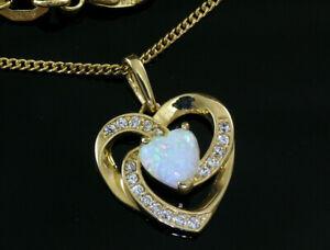 333 Gold Herz Anhänger in Größe 14 mm x 12 mm mit Opal und Zirkonia ohne Kette