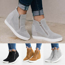 Womens Wedge Hidden Heel Trainers Pumps Ladies Zip Mesh Sneakers Shoes Non-slip