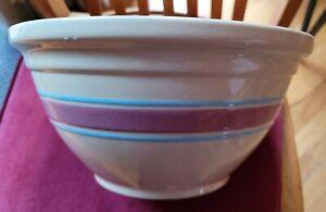 Vintage Large 12 USA Oven Ware Mixing Bowl Pink Blue Stripes Huge