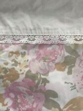 Vintage Springmaid Wondercale Twin Flat Sheet Pink Floral Lace Percale Cottage