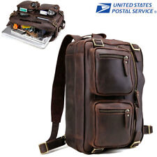"Retro Leather Backpack Men 14"" Laptop Briefcase Portfolio Messenger Shoulder Bag"