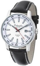 Mens Wrist Band Watch Quartz with Date Leather Strap Black Dial Face White 36378
