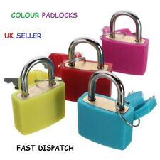 2x 23mm Coloured Plastic Coated Brass Padlock Travel Luggage Padlocks Lock