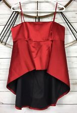 Zara Woman Red Satin Cropped Hi Low Halter Top Blouse Spaghetti Strap Size Large