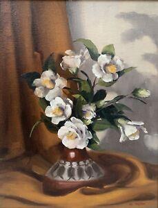 "Val Walton (20th Century Australian) ""Camellias"" Oil on Board"