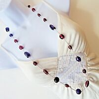 "Ladies LONG Chunky Blue & Purple Glass Bead String Necklace 91.5cm 36"" UK ~0763"