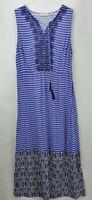 Isaac Mizrahi Live! Geo Printed Maxi Dress w/ Embroidery Navy Plus 18 A264685