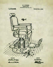 Barber Shop Chair Patent Poster Art Print 11x14 Hair Salon Cape Gown Gift PAT387