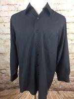GEOFFREY BEENE MENS CASUAL DRESS SHIRT 16 1/2 32/33 COTTON BLEND BLACK