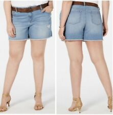Style & Co Womens Jean Shorts Plus 18W Blue Denim Belted Light Wash Frayed NEW