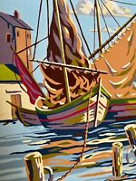 """Vintage 1962 Paint by Number Sailboat PBN """"Sail at Rest"""" 12"""" x 16"""" Signed"""