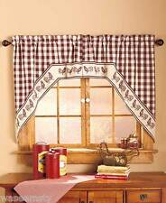 Swag-Style Country Gingham Barn Rooster Kitchen Window Curtain Set Decor