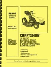 Sears Craftsman Electric Start 6-Speed Lawn Tractor 917.255520 OWNER'S MANUAL