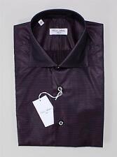 Cesare Attolini Black Purple 100% Cotton Spread Collar Striped Dress Sport Shirt