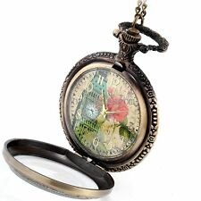 Watch Pendant Necklace w Chain Retro Vintage Style Flowers Belfry Pocket