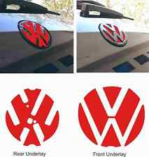 VW Golf R GTI GTD MK7 Badge front rear underlay Stickers Decals any colour X4!