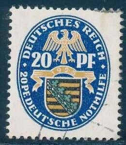 D.Reich Nr. 377 gestempelt, 20 + 20 Pfg. Nothilfe Wappen 1925 (57242)