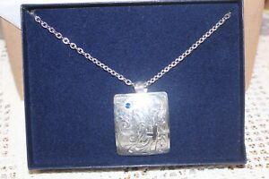 Montana Silversmiths Necklace Silver w~Cross Design & Blue CZ  #STNC1172