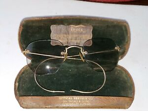 Vintage Shuron Wire Rim Eyeglasses 1/10 12K GF w/Snapping Case Etched