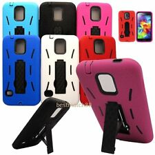 for samsung galaxy S5 rugged 2 layer case cover w stand blue black red hot pink