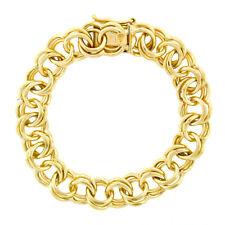 "Vintage 14K Yellow Gold 6.5"" Open Dual Circular Rolo Link Charm Heavy Bracelet"