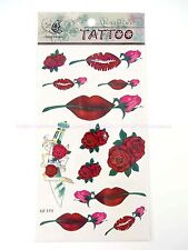 US SELLER-red lips rose temporary tattoo stickers body sticker wholesale