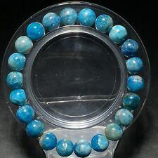 8.6mm Natural Gem quality Light Blue Apatite Crystal Round Beads Bracelet