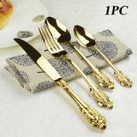 Retro Vintage Western Gold Plated Relief Cutlery Dining Knives Fork Teaspoon ~