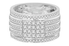 10K WHITE GOLD 1.17 CARAT MENS REAL DIAMOND ENGAGEMENT WEDDING PINKY RING BAND