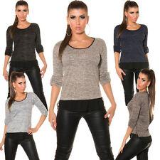 Feine Damen-Pullover & Strickware mit Rundhals ohne Muster und Reißverschluss