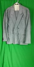 Men's Vintage suit brand  Le Tigre  sz 40 R shimmery gray double  breasted