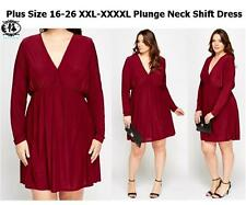 LADIES CURVE PLUS SIZE 16-26 SHIFT DRESS MAGENTA RED SMART SKATER COCKTAIL PARTY