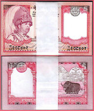 NEPAL 5 RUPEES 2002 BUNDLE UNC PACK OF 100 PCS P.46A SIGN 15