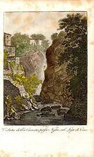 Stampa antica LAGO di COMO Orrido Cascata di NESSO 1821 Old print