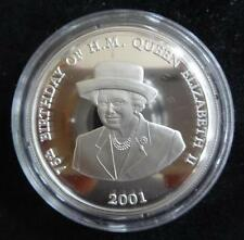 2001 SILVER PROOF ZAMBIA 4000 KWACHA COIN + COA THE QUEENS 75th BIRTHDAY